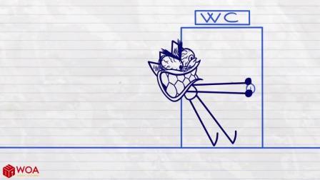 搞笑铅笔画小人游戏:阿呆找厕所记怎么厕所都有人呢