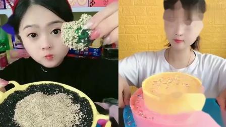 萌姐吃播:果冻芝麻彩虹爆浆蛋糕,一口超过瘾
