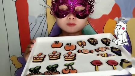 妹子吃创意巧克力,樱桃糖果与冰淇淋造型,薄脆香甜好美味