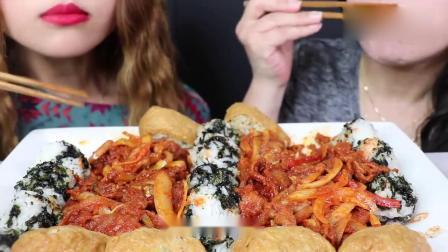 吃播大胃王:小姐姐吃韩式烤肉紫菜饭团糯米团子,发出的咀嚼声.mp4