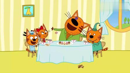 咪好一家:马芬伯伯好调皮啊,三只小猫咪都有点头大啊!