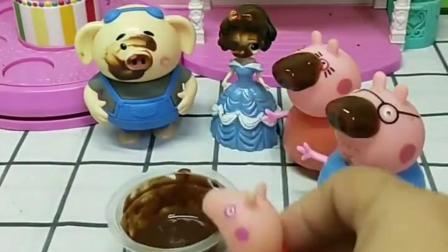 乔治想吃巧克力酱,猪妈妈也想吃巧克力,吃完之后他们变的好丑啊