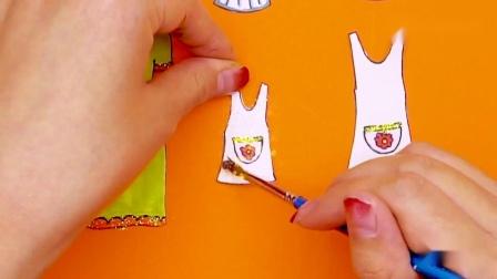 纸娃娃创意手工:小女孩生日,制作厨师服亲子装,制作生日蛋糕.mp4