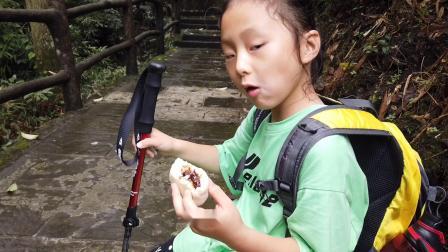 7岁女孩徒步峨眉山,一路健步如飞,夜宿寺庙体验斋菜斋饭
