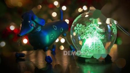 歌曲配乐 f485 4K画质超唯美清新蓝色圣诞水晶球圣诞节平安夜元旦晚会童话世界儿童节歌舞节目LED背景视频素材 背景视频
