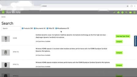 使用舒尔技术门户Tech Portal — 如何搜索产品信息
