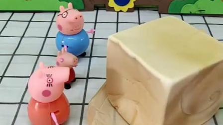 猪奶奶做了很多面包,她要分给善良的小猪,可是乔治不见了