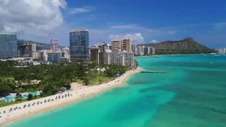 10002航拍美国夏威夷檀香山海岸