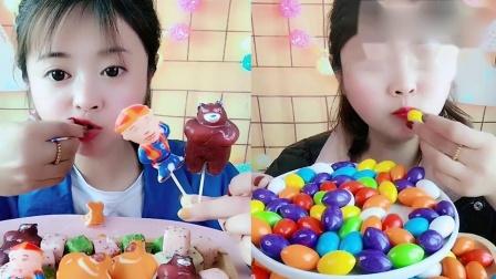 美女吃播:宠物棒棒糖彩色泡泡糖,看着就过瘾,是我向往的生活