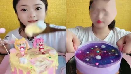 萌姐吃播:各种小奶油蛋糕,小姐姐一口气吃了很多