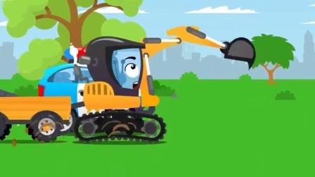 搞笑汽车玩具:挖掘机获得一个金属探测仪,到处挖金属搞破坏
