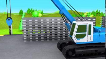 搞笑汽车玩具:推土机卡车和吊车一起修建铁路