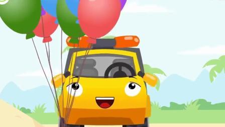 搞笑汽车玩具:推土机和拖车千辛万苦找到的宝藏竟是汽球