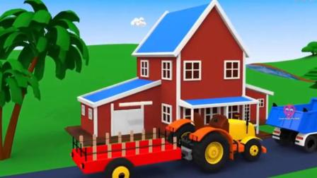 搞笑汽车玩具:推土机翻斗车和拖拉机一起建造房子和游泳池