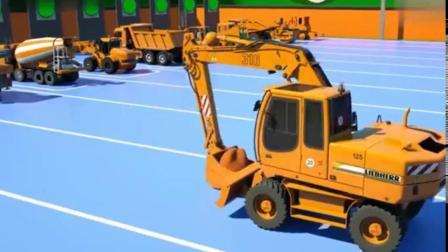 搞笑汽车玩具:搅拌车与吊车挖掘机卡车分工合作完成任务