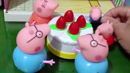 猪妈妈买了好吃的蛋糕,不等猪爸爸回来就开始吃了,猪爸爸好无奈呀!