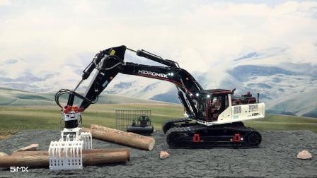 Hidromek HMK490挖机模型抓木料场景