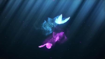 z257 唯美漂亮多彩颜色两只粒子蝴蝶飞舞汇聚标志LOGO展示片头视频ae模板