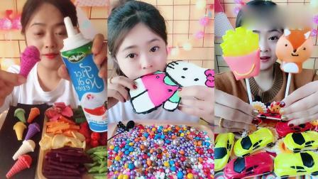 小姐姐直播吃:彩色Kitty猫薯条棒棒糖,看着就过瘾,是向往的生活