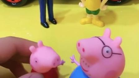 佩奇要吃汉堡包,于是向猪爸爸撒娇,大头也要撒娇,但爸爸不给买