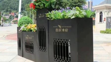 【江苏鑫宇】不锈钢花盆厂家定制上海园林景观logo组合不锈钢花箱