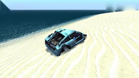 车祸模拟:兰博基尼开足马力全速冲向超强激光切割墙,画面太刺激啦