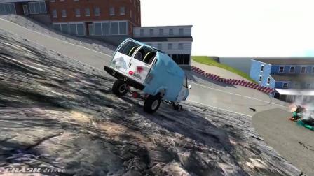 车祸模拟:兰博基尼开足马力冲向路口急转弯的警车,这画面好酸爽啊