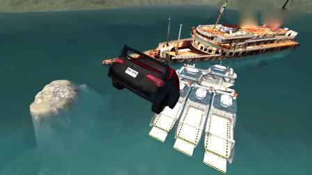 车祸模拟:兰博基尼开足马力玩飞跃冲向泰坦尼克沉船,画面好酸爽啊