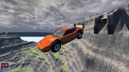 车祸模拟:兰博基尼开足马力穿过限宽公路冲向超大矿坑,画面够酸爽