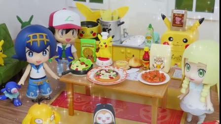 皮卡丘系列厨房玩具,真实还原面包、披萨的制作过程!