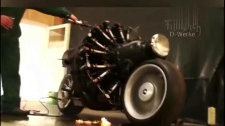 国外牛人把飞机引擎安装在摩托车上