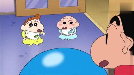 小葵和婴儿看到了蛋糕两眼放光,去叫小新过来拿蛋糕