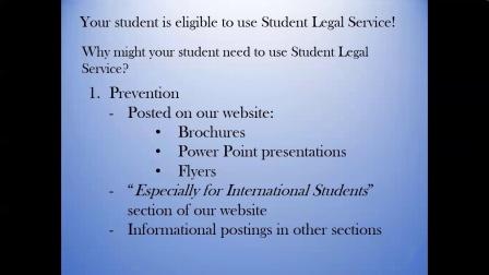 Student Legal Services   Info for Parents