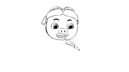 可爱的猪猪侠吃蛋糕手绘百变猪猪侠儿童卡通漫画