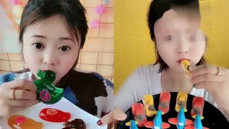 美女试吃:小鸭子果冻巧克力,一口下去超过瘾