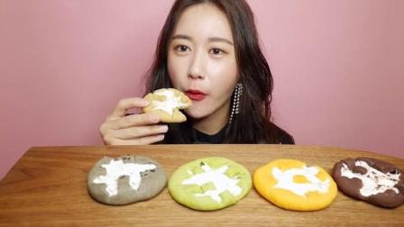 """韩国ASMR吃播:""""棉花糖饼干"""",看起来很漂亮,欧尼吃得真馋人啊"""