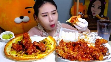 """韩国吃播:""""必胜客披萨调味炸鸡"""",吃得真香,看得我都馋了呢"""
