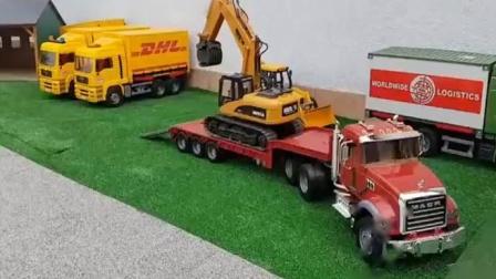 汽车玩具视频:农场里各种工程车的展示