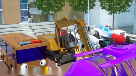 汽车玩具视频:各种汽车们在等待罐车和卡车用水果帮它们染颜色