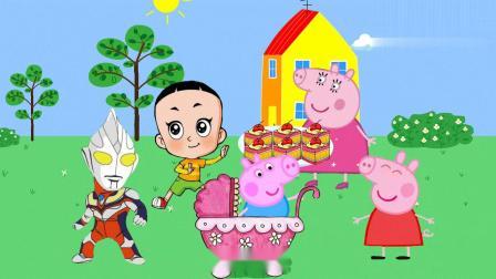 佩奇和好朋友一起玩过家家游戏,乔治假扮婴儿想吃蛋糕