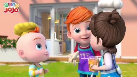 《超级宝贝JOJO》喜欢 两个小厨师一起合作制作香蕉花生酱美食