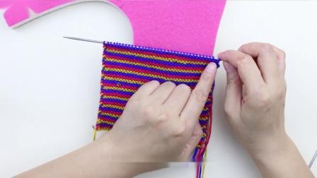 雅馨绣坊-毛线棉鞋编织视频-三色彩虹中间三角棉鞋视频教程
