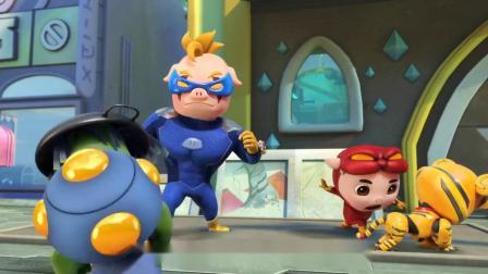 猪猪侠:超人强抓倒霉星人,却踩到施工的地方,结果脚被粘住了!