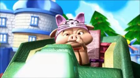 猪猪侠:为了抢一个老鼠,小呆呆竟召唤机甲,和超人强打了起来!