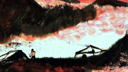 邱汉桥山水画《气蒸云梦泽,满山红霞蔚》欣赏