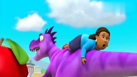 汪汪队:咕咕鸡好凶猛,大恐龙打扰它吃饭,直接攻击它!