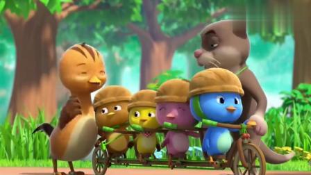 苏达叔叔改装自行车,让鸡宝宝们一起骑,看起来好好玩!