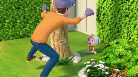 超级宝贝:大灰狼来了,小朋友快跑啊,被抓到就完了