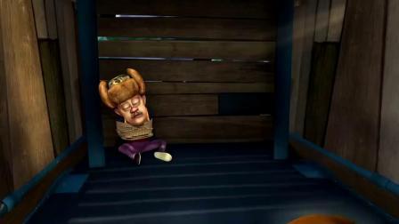 熊出没:熊二真调皮,把光头强捆了起来,还做了个鬼脸呢