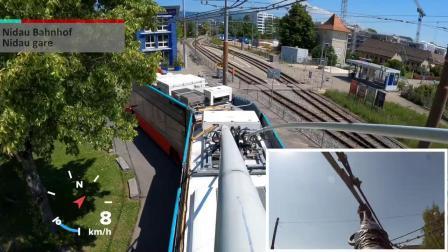 瑞士-比尔 4路无轨电车全程集电杆视角